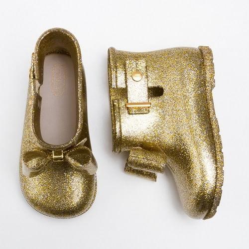 Galocha-Mini-Melissa-Sugar-Rain-Ouro-Gliter