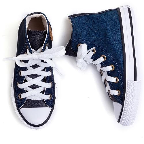 ece6274623 Tênis Infantil Converse All Star Cano Alto Azul Jeans (26 ao 33)