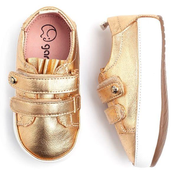4f52379f523 Tênis Gambo Baby Babado Dourado com Velcro - laranjeiras