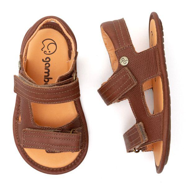 Sandalia-Infantil-Gambo-Baby-Duplo-Velcro-Marrom-Conhaque