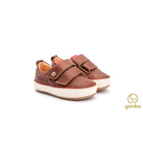Tenis-Infantil-Gambo-Baby-Velcro-Marrom-Conhaque