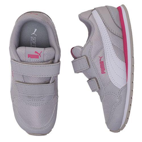 tenis-infantil-puma-runner-cinza-e-rosa-velcro